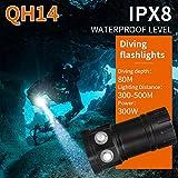Unterwasser Taschenlampe, IPX8 Wasserdichte Submarine Licht, 28800 Lumen, 80m LED Kamera licht/Diving Flashlight, Multifunktions Tauchen Taschenlampe