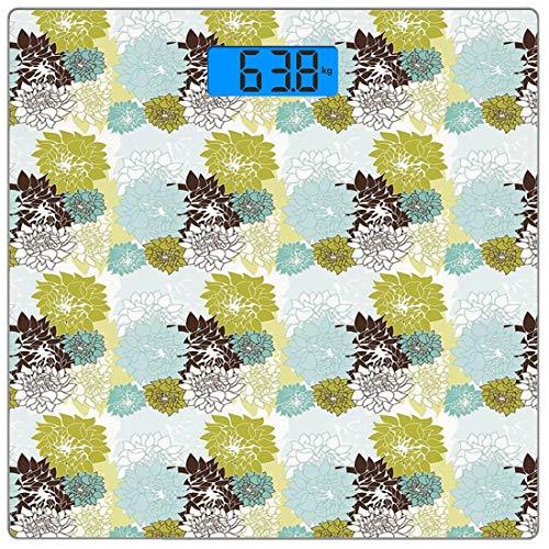 Precision Digital Body Weight Scale Floral Ultra Slim Gehärtetes Glas Personenwaage Genaue Gewichtsmessungen, Pastell Wildblumen Zeichnung von Blättern Natur inspirierte Flora Dekorativ, Baby Blue - Pad Dekorative Zeichnung