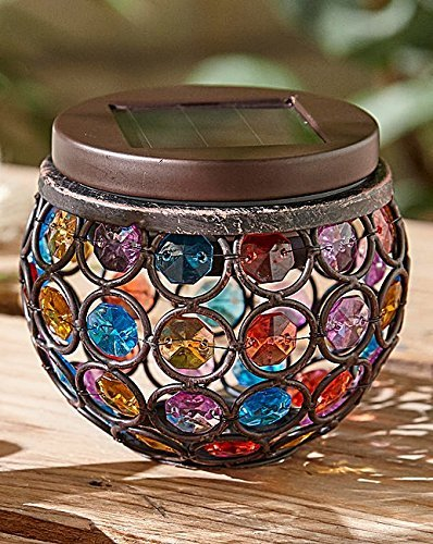 Garden Mile® Multi Glow Gem Jar Solar Lights LED Outdoor Table Lantern Colour Changing Night Lights Party Lights, Weatherproof Crystal Glass Globe Ball, Best Table Lamps for Bedroom, Party, Garden, Patio, Yard, Colorful Outdoor / Indoor Decoration Led Lig