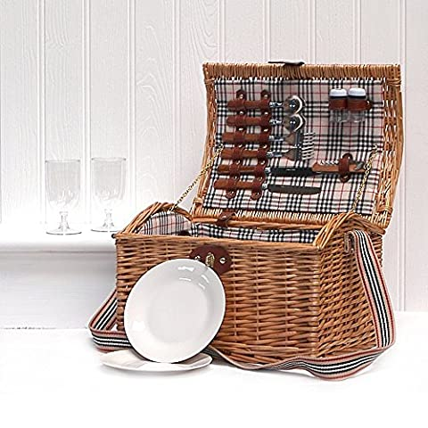 2 Person Picnic Wicker Basket Fitted Hamper with Accessories