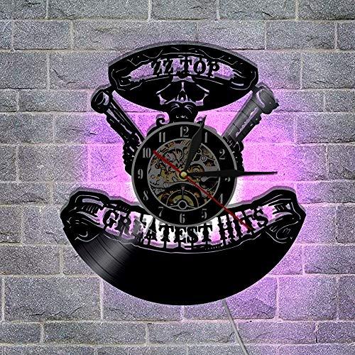 FANCYLIFE Greatest Hits ZZ Top Music Group Orologio da Parete Lampada da Parete a LED in Vinile Retro Applique da Parete Decorazioni per Interni Orologio da Parete Orologio Fatto a Mano