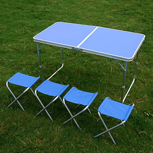 Tables de pique-nique Table pliante extérieure carrée Table multifonction portable simple Table basse en aluminium (Color : Blue)