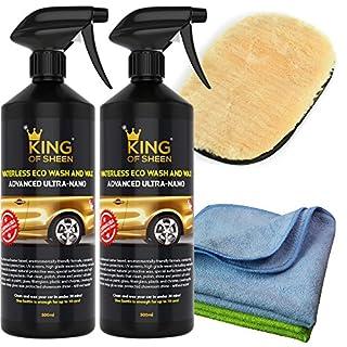 King of Sheen Advanced Ultra Nano Wasserloser Autowasch- und Wachsspray mit Canauba-Wachs und Nano-Polymeren für Schutz und dauerhaften Glanz, 2x1Lt + 2 Mikrofasertücher und Lammwolle Polierhandschuh