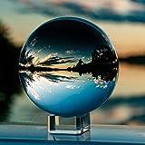 IZSUZEE K9 Sfera di Cristallo 100mm, Trasparente Lensball Palla di Vetro con Supporto, Fotografia Accessori Soprammobili Nata