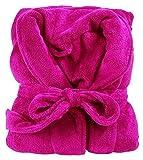 Bademantel Microfaser 10 Farben 4 Größen (XXL, Pink)