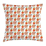 Apple Throw Pillow Cushion Cover, Bulls Eye Pattern with Arrow and Red Fruit Motif Natural Summer, Decorative Square Accent Pillow Case, 18 X 18 inches, Scarlet Azure Blue Fern Green