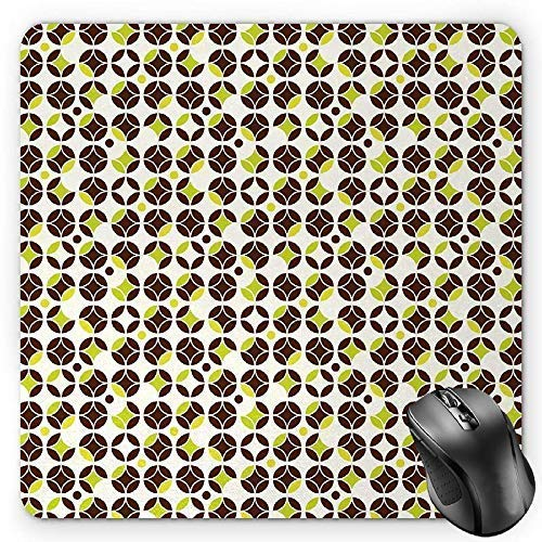 Geometric Mouse Pad, Vintage Toned Abstract Circles Ornamental Classic Pattern Gaming Mousepad Office Mouse Mat Apple Green Chestnut Brown Cream -