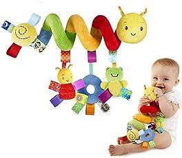 Qenci Unisex Kleinkind Baby Activity Spirale Stoffspielzeug Klingende Hängende Spirale auf dem Autositz Kinderwagen Kinderbett mit Biene und Frosch Farbenfrohe