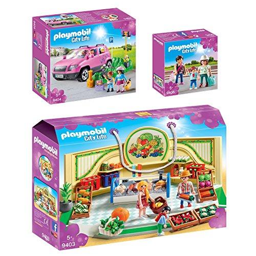 PLAYMOBIL® City Life 3er Set 9403 9404 9405 Bioladen + Familien-Pkw mit Parkbucht + Shopping Girls