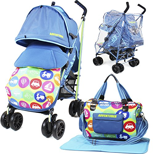 iSafe buggy Stroller Pushchair - Adventurer (Complete With Footmuff, Changing Bag, Bumper Bar & Rain cover)