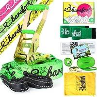Barefoot Slacklines 15m Line! ¡Juego Completo Que Incluye Slackline, trinquete, línea de Entrenamiento, protección contra ladridos e Instrucciones! 3 Colores de Fluro Disponibles (Verde Fluorescente)