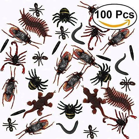 100Pcs réalistes Insectes en plastique Falsiques cafards, araignées, scorpions, fourmis, geckos, mille-pattes et vers à la fête
