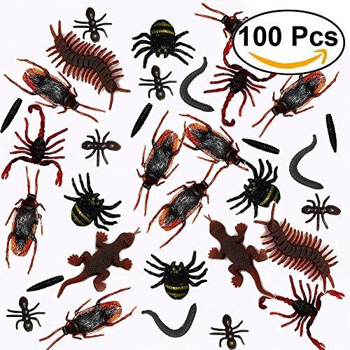 100Pcs réalistes Insectes en plastique Falsiques cafards, araignées, scorpions, fourmis, geckos, mille-pattes et vers à la fête d'Halloween 4053f148-6551-4145-b0c0-bc59a9a6d77f