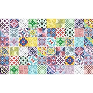Ambiance-Live 60Aufkleber Fliesen   Sticker Selbstklebend Fliesen-Mosaik Fliesen Wandtattoo Badezimmer und Küche   Fliesen Kleber-Mehrfarbig Vintage künstlerischen-10x 10cm-60-teilig