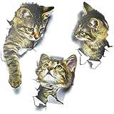 3 Stks Kat Muursticker Verwijderbare 3D Leuke Kat Muurstickers Waterdichte Kat Toilet Stickers Levendige Kitten Muursticker D