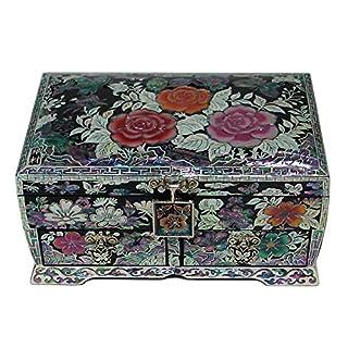 Mother of Pearl Pink Rose Blume Lack Holz Schmuck Schmuckkästchen Andenken Schatztruhe Box Case Organizer