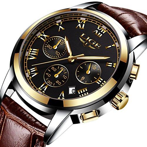 SUNWH Herren Uhr Analog Quarz mit Leder Armband S-01A