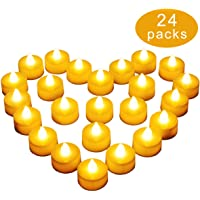 Diyife Tea Lights, [New Version] [24pcs] Realistic and Bright Battery Operated Flickering Tealights, Fake Candles in Warm Yellow Perfect for Valentines Day, Halloween, Christmas, Birthday Decoration