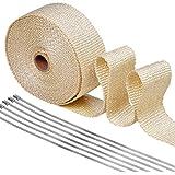 Bande Isolant Thermique Céramique, Chenci Bande Titanium Magma 50mm 10M +6 X Attaches De Cable En Métal Pour Tuyau Manifold, Parfait Pour Moto/Voiture/Cuisine, Beige