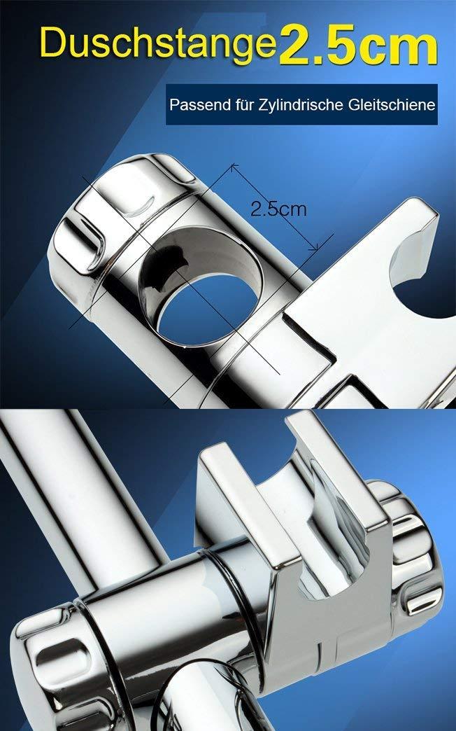 Staffa-Supporto-Doccia-Rixow-Cromati-Doccia-Supporto-Doccetta-Scorrevole-per-Asta-Doccia-25mm