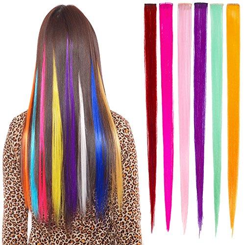 Multi-Colors Party Highlights bunten Clip in synthetischen Haarverlängerungen, 6 Stück