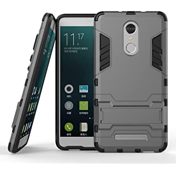 Chevron Back Cover Case for Xiaomi RedMi Note 3 (Grey) [Military Grade Version 2.0 With Kick Stand Hybrid Back Cover Case]