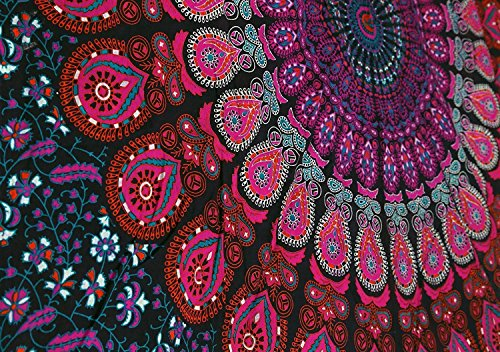 Craftozone Multicolored Mandala Tapestry Indian Wall Hanging, Bed Sheet, Comforter Picnic Beach Sheet, Quality Hippie (Pink, Single)