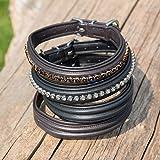 Kieffer Hundehalsband Ultrasoft Fashion schwarz, doppelt bombiert mit Kette aus hellgrauen Kristallen, Größe Hundehalsband:42cm