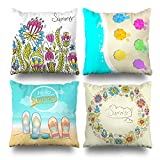 Suesoso Deko Kissen Fall Modernen Einfachen Geometrischen Stil Sommer Blumen Strand Floral Serie Überwurf Kissenbezügen, 45,7x 45,7cm, Set 4 18 x 18 Colour3