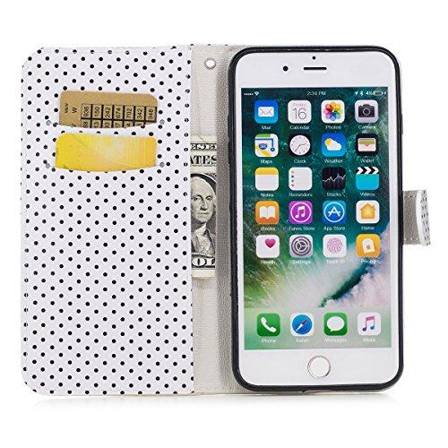JAWSEU Coque Etui pour iPhone 7 Plus Portefeuille Pu,iPhone 7 Plus Étui Folio en Cuir,iPhone 7 Plus Coque à Rabat Magnétique Housse Etui de Protection élégant Une Fleur Papillon Point d'onde Motif Cou Or