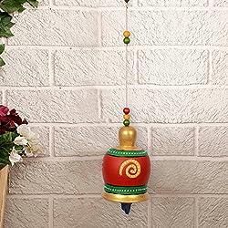 ExclusiveLane Terracotta Handpainted Decorative Bell Hanging -Wind Chimes Hanging Decorative Item