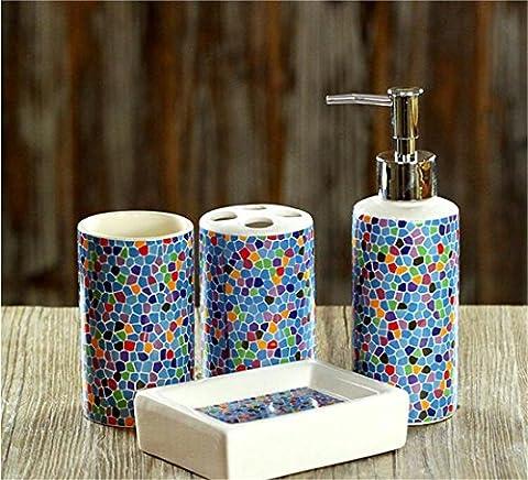 Liyongdong CeramicBathroom Accessoires Quatre ensembles de sets de lavage Emulsion Bottle Brosse à dents Holder Mouthwash ,