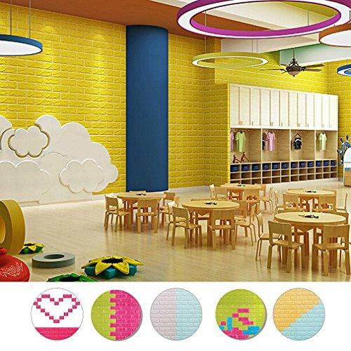 Preisvergleich Produktbild KINLO® 10 Stück Tapete Pattern 70x77x1cm gelb Verdickt selbstlebend Wand Paneele Kinderzimmer 3D modern Wasserdicht Steinwand aus hochwertigem PVC für Badezimmer 2 Jahren Garantie