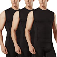 TSLA Men's R-Neck Sleeveless Workout Shirts, Dry Fit Running Compression Shirts, Athletic Training Top