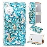 Spritech (TM) 3D Handmade Pure White Cristal Fleur Papillon Bleu Diamant de Housse en cuir pour LG G4 H815 H818 Blanc