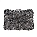 Bonjanvye Studded Rhinestone Butterflies and Flowers Clutch Evening Bags for Women Gray