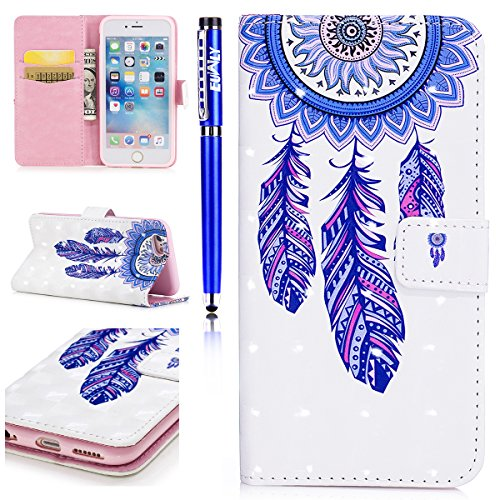 EUWLY Custodia per [iPhone 5S/iPhone SE], 3D Bling Bling PU Pelle Portafoglio Case per iPhone 5S/iPhone SE, Flip Stand Bookstyle PU Leather Wallet Cover Fashion Elegante Dipinto Colorato in PU Pelle P Campanula Blu