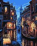 Komking DIY oil painting Paint by Numbers Kits per adulti per principianti, bellissimo paesaggio dipinto su tela 40,6x 50,8cm Venice Night