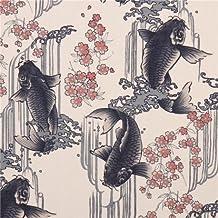 Tela dobby textura beis Asia flor pez de Kokka