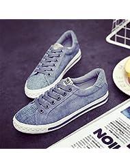 Las Mujeres De Bajo Fondo Plano Superior Encaje Zapatos De Lona De Ocio Skates Alojamiento,37,Luz Azul