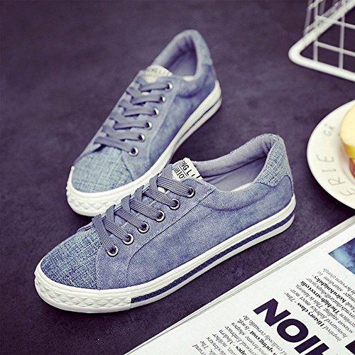 NSX delle donne cima piatta inferiore bassa casuale lace-up delle scarpe di tela skate Sneakers Flats , 35 , black LIGHTBLUE-37