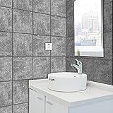HyFanStr Marble Tile Aufkleber PVC Selbstklebend Aufkleber Abziehen und Aufkleben Duett–100, 20,3x 20,3cm Cement