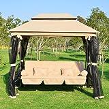 Balancelle balançoire fauteuil lit de jardin convertible avec moustiquaire 3 places charge max. 360kg en acier sable neuf84