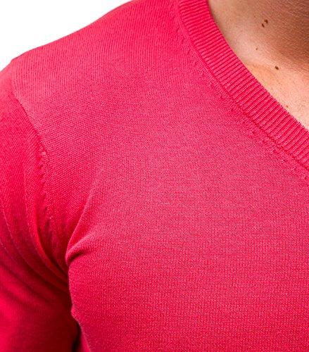 BOLF Herrenpullover Pulli Sweatshirt Sweatjacke Sweater V-Ausschnitt GLO-STORY 1818 Rosa