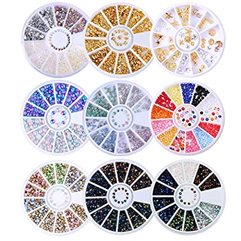 Born Pretty 9 Boxes Nail Art Decoration Wheel Set Rivet AB Color Sea Opal Studs Mixed Size Flat Back 3D Manicure Accessories
