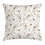 fengxutongxue Ivory Throw Pillow Cushion Cover, Floral Pattern Paisleys and Dots Abstract Oriental Spring Design Blooming Nature, Decorative Square Accent Pillow Case, 18 X 18 Inches, Tan Beige Grey
