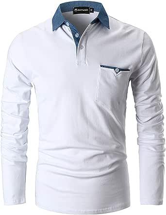 GHYUGR Polo da Uomo Manica Lunga Maglietta Cotone Cuciture in Denim Collare Casuale Poloshirt Camicia Golf T-Shirt