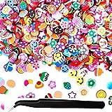 1000 PCS Nail Art Fimo Scheiben schneiden sortiert 3D Fruit Muster Scheiben Nail Art Aufkleber mit Ideal für Kleben, schlamm, DIY Handwerk, Nail Art Dekoration Mit 1 Pinzette (Zufällige Farbe)