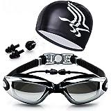 نظارة سباحة مع قبعة غطس للرأس وسدادة للانف والاذن
