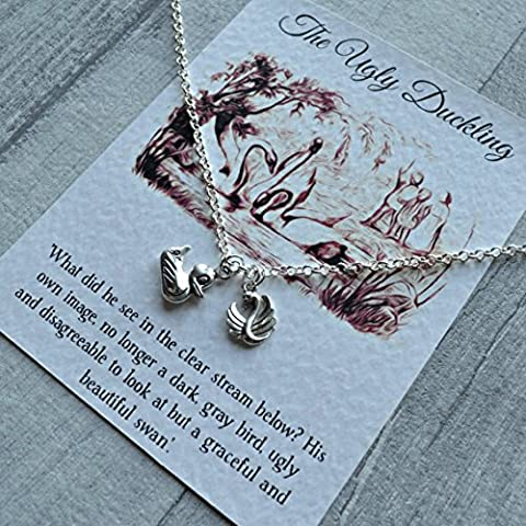 The Ugly Duckling Bird Necklace - Hans Christian Andersen - Sterling Silver/Silver Plated, Encouragement, Book Lover Gift